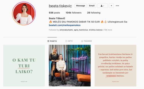 beata tiskevic Instagram veiklios moterys Instagram