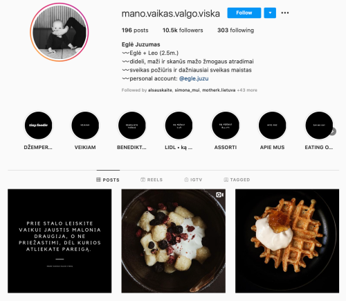 egle juzumas Instagram versli mama gomama