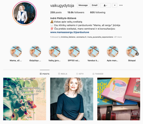 indre butiene vaiku gydytoja verslios mamos gomama Instagram