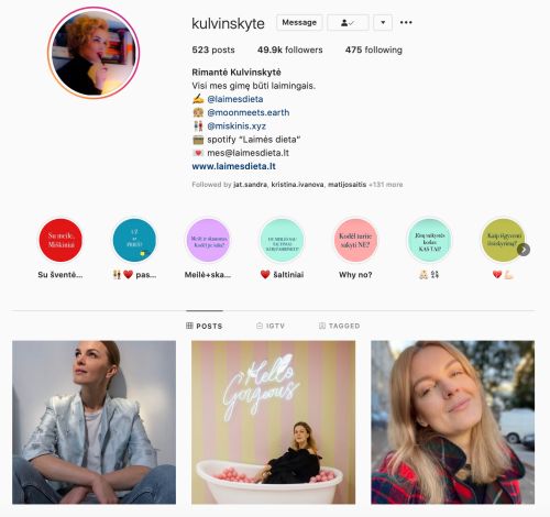 Rimante Kulvinskyte veiklios mamos instagram gomama