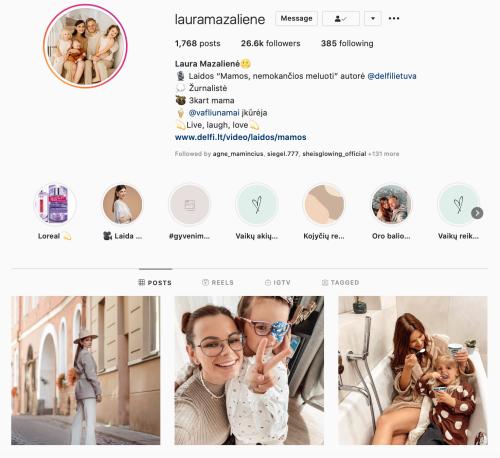 Laura Mazaliene Instagram veikli mama