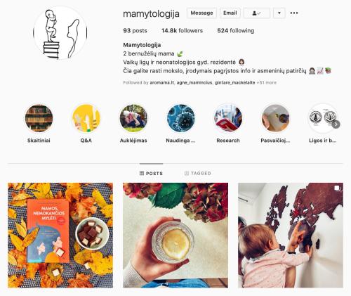 mamytologija veikli mama Instagram
